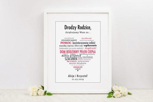 Podziękowanie w ramce dla Rodziców - Duże kolorowe napisy w sercu