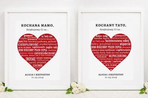 Komplet dwóch ramek z podziękowaniami dla Rodziców - Napisy w czerwonym sercu