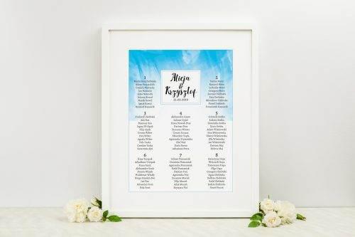 tablica z planem stołów weselnych