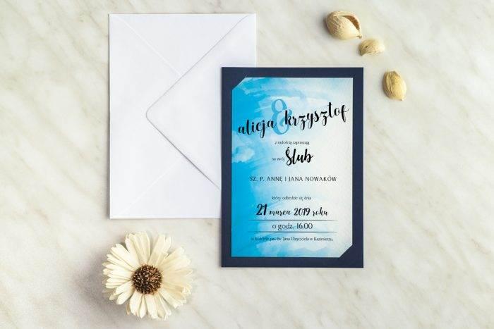 zaproszenie ślubne rozlana farba