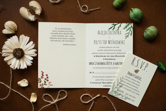 Zaproszenie zimowe - czerwony akcent - Zaproszenie -środek