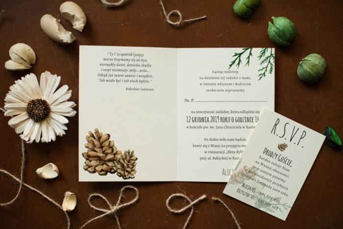 Zaproszenie zimowe - róże i sukulenty -Zaproszenie -środek