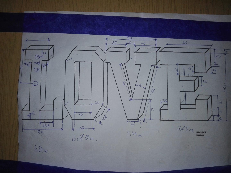 projekt liter love w wersji 3d