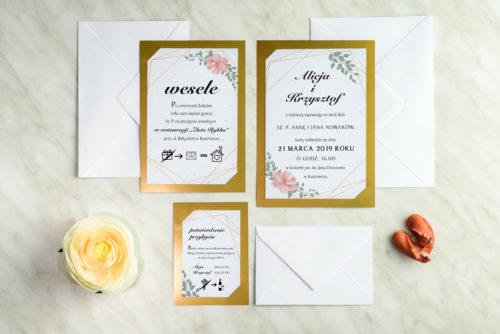 zaproszenia ślubne na złotej podkładce