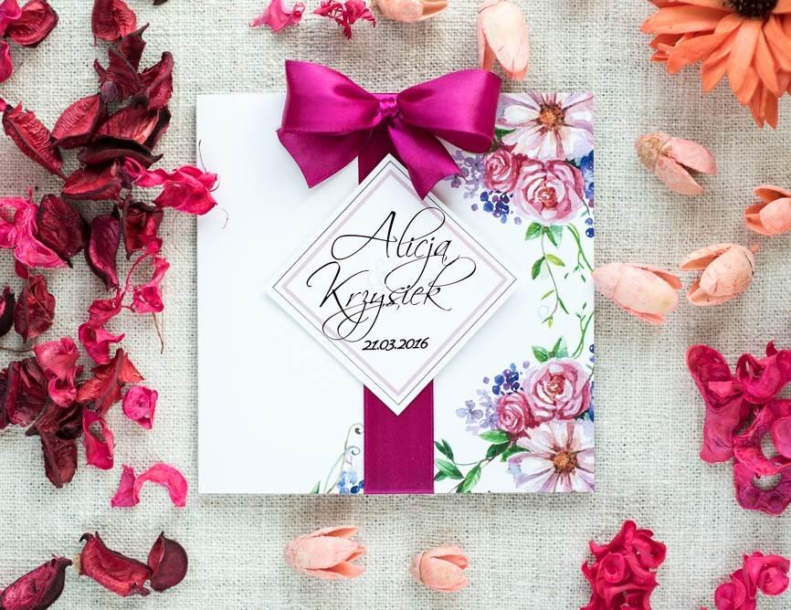 zaproszenie ślubne z malowanymi kwiatami