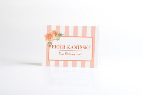 Winietka ślubna do zaproszenia Paski rustykalne - Pomarańczowe