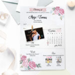 zaproszenie ze zdjęciem i sznurkiem w różowe kwiaty