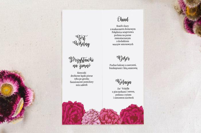 Menu weselne do zaproszenia Kwadratowa kartka: Różowe Piwonie