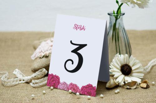 Numer stolika do zaproszenia Kwadratowa kartka: Różowe Piwonie