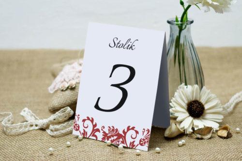 Numer stolika pasujący do zaproszenia Ornament z kokardką wzór 5