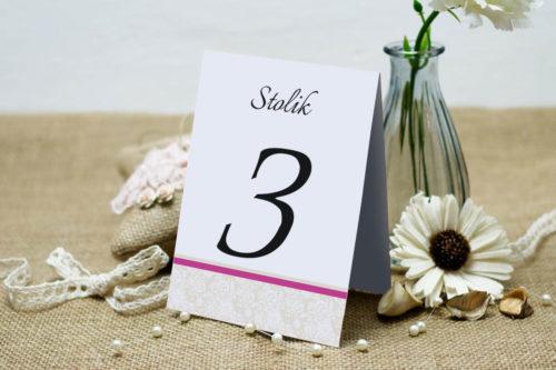 Numer stolika pasujący do zaproszenia Ornament z koronką wzór 1