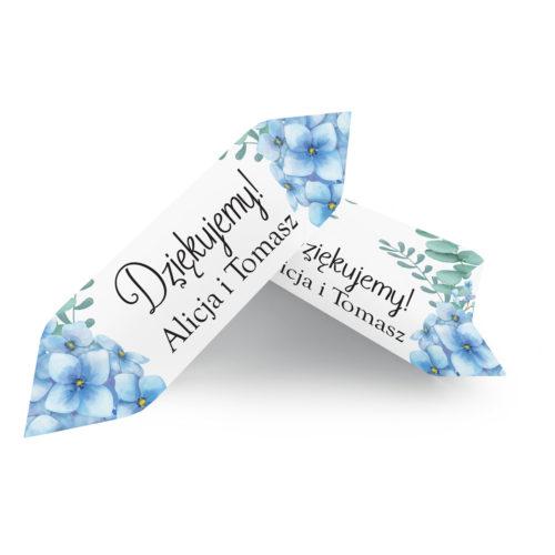 Krówki ślubne 1 kg - Niebieskie Hortensje