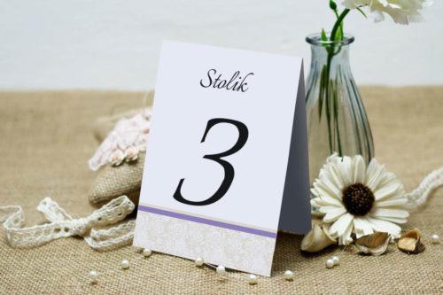 Numer stolika pasujący do zaproszenia Ornament z koronką wzór 3