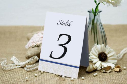 Numer stolika pasujący do zaproszenia Ornament z koronką wzór 2