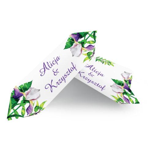 Krówki ślubne 1 kg Kwiaty z nawami – Biało-fioletowe krokusy