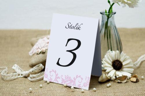 Numer stolika pasujący do zaproszenia Ornament z kokardką wzór 4