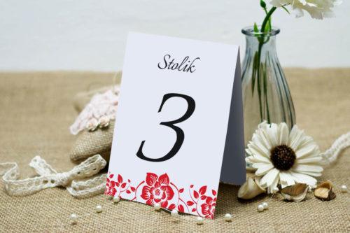 Numer stolika pasujący do zaproszenia Ornament z kokardką wzór 2