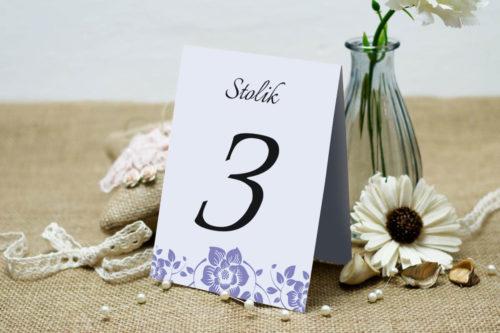 Numer stolika pasujący do zaproszenia Ornament z kokardką wzór 6