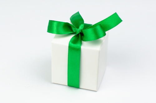 Pudełeczko z zieloną kokardką