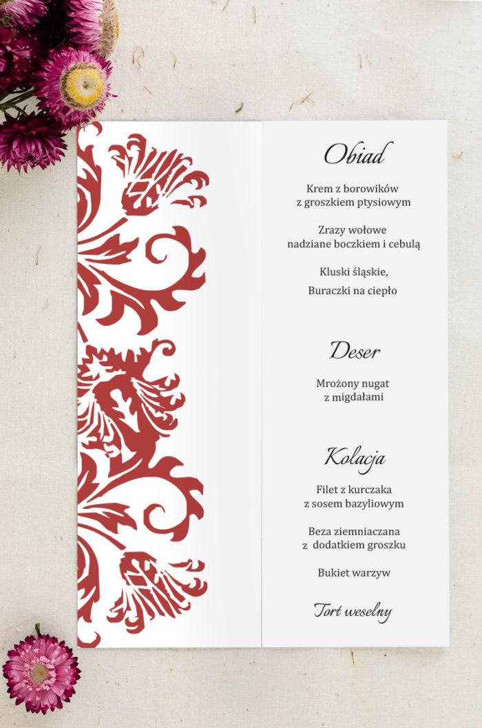 Menu weselne pasujące do zaproszenia Ornament z kokardką wzór 5