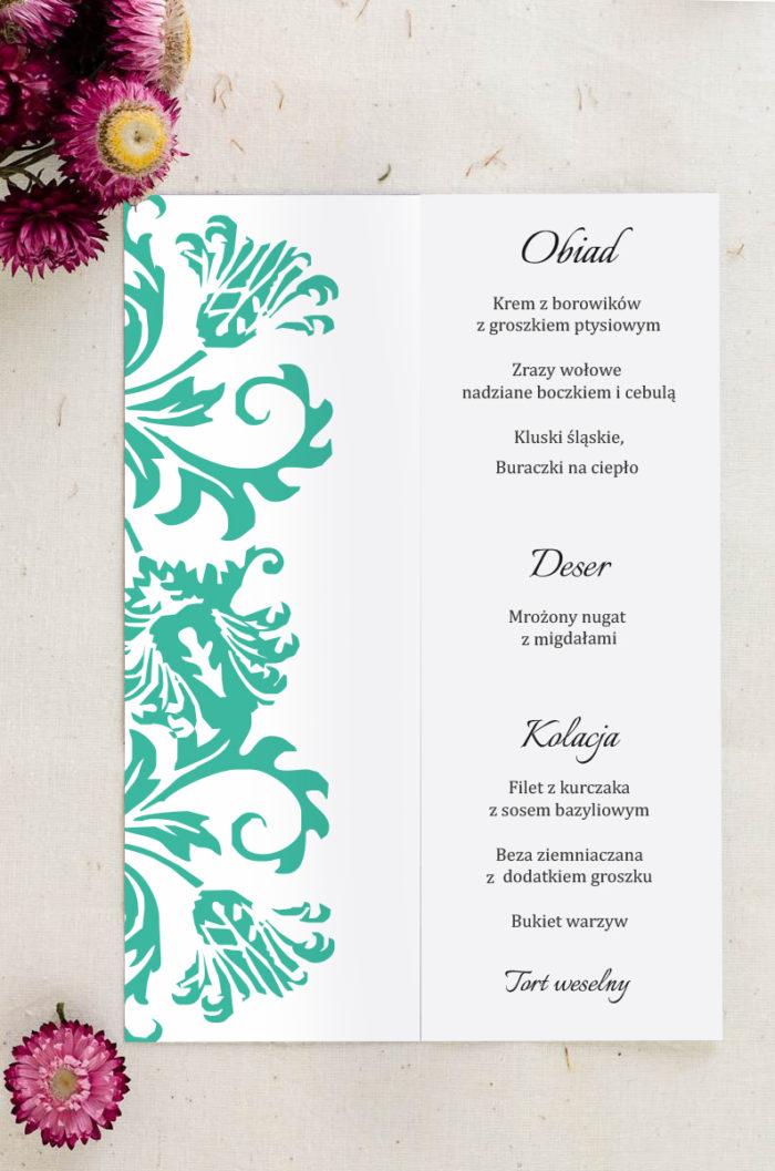 Menu weselne pasujące do zaproszenia Ornament z kokardką wzór 8