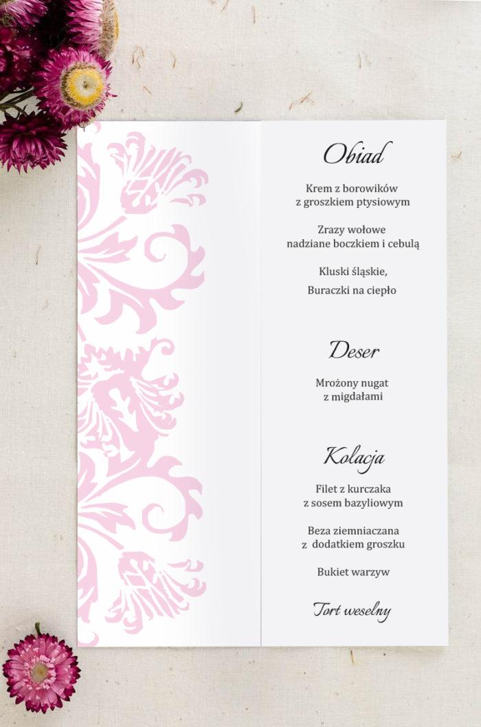 Menu weselne pasujące do zaproszenia Ornament z kokardką wzór 4
