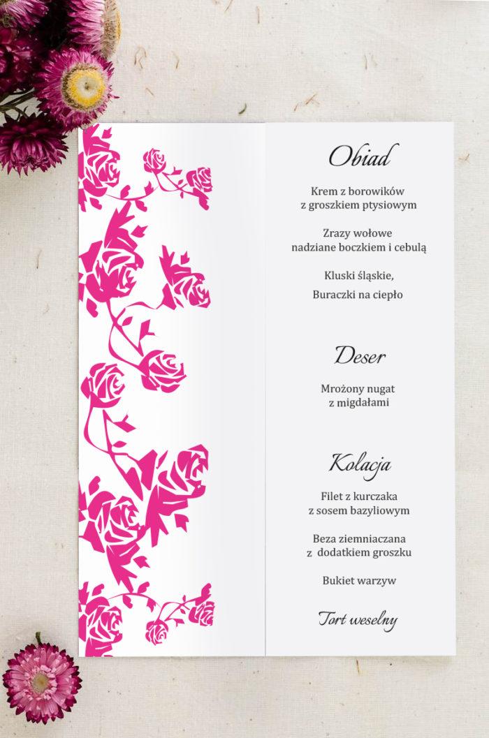 Menu weselne pasujące do zaproszenia Ornament z kokardką wzór 1