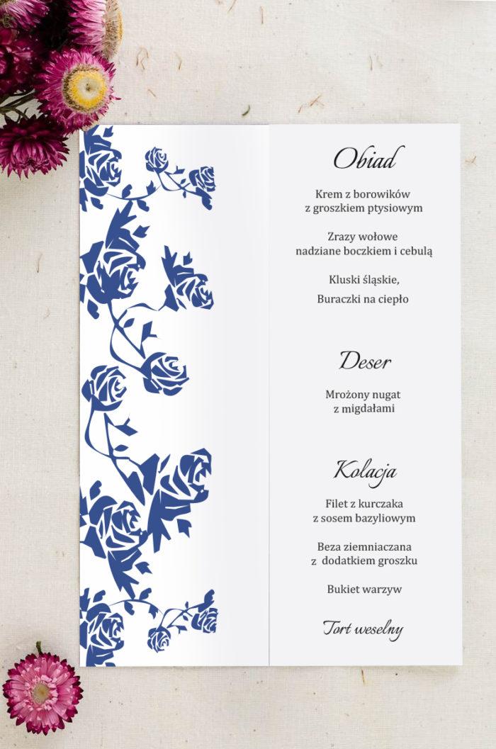 Menu weselne pasujące do zaproszenia Ornament z kokardką wzór 3