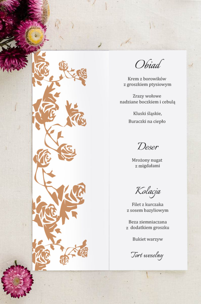 Menu weselne pasujące do zaproszenia Ornament z kokardką wzór 9