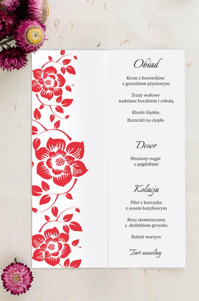 Menu weselne pasujące do zaproszenia Ornament z kokardką wzór 2