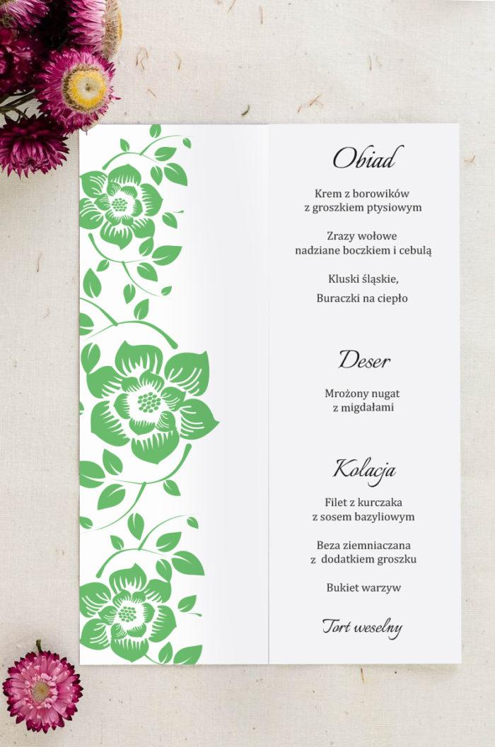 Menu weselne pasujące do zaproszenia Ornament z kokardką wzór 7