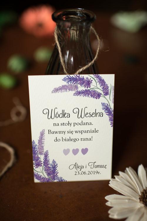 Zawieszka ślubna na alkohol - Lawendowy Ślub