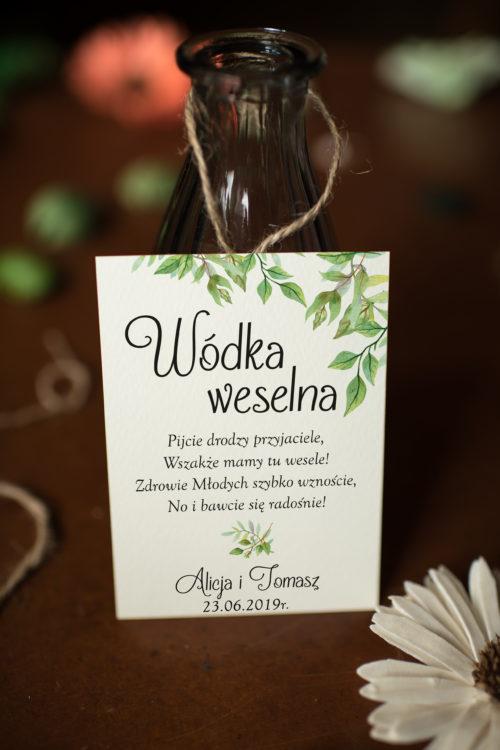 Zawieszka ślubna na alkohol - Liściaste