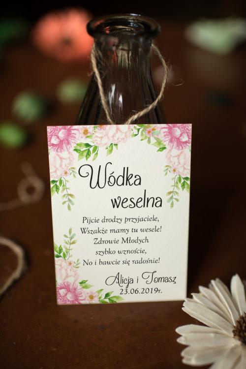 Zawieszka ślubna na alkohol - Pastelowe Kwiaty W Różu