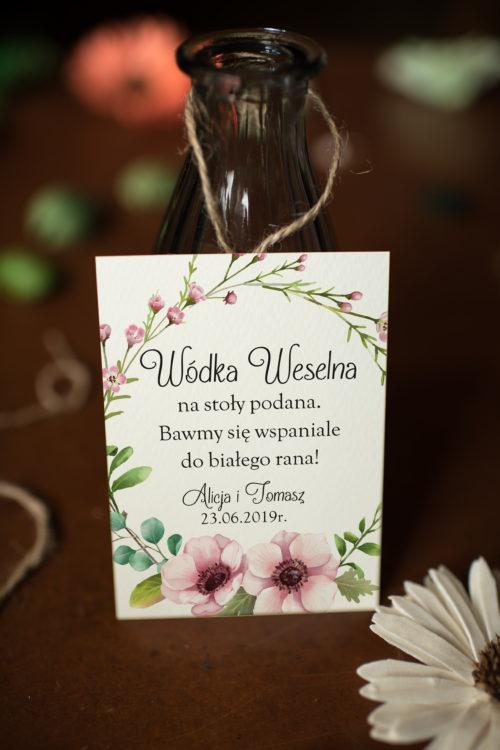 Zawieszka ślubna na alkohol - Pastelowe kwiaty