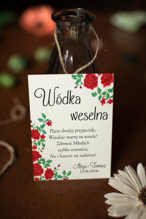 Zawieszka ślubna na alkohol - Róże Z Chusty