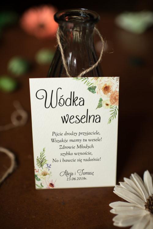 Zawieszka ślubna na alkohol - Słoneczne Kwiaty