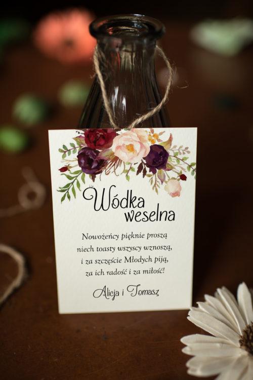 Zawieszka ślubna na alkohol - Z Bordowym Akcentem