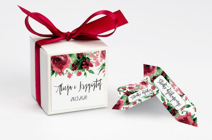 Pudełeczko z personalizacją Boho Burgundowe Róże
