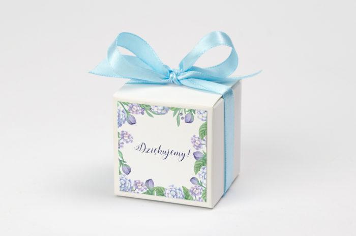 Pudełeczko z personalizacją - Kwadratowa kartka: hortensje