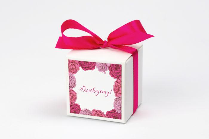 Pudełeczko z personalizacją - Kwadratowa kartka: RóżowePiwonie