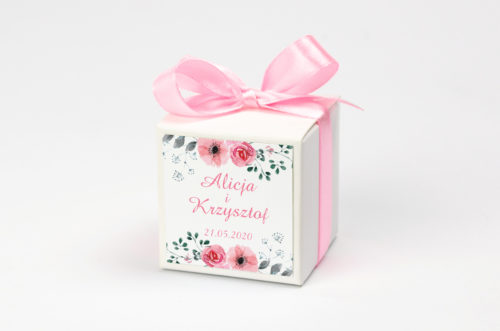 Pudełeczko z personalizacją - Kwiaty z nawami: Kwiatuszki pink
