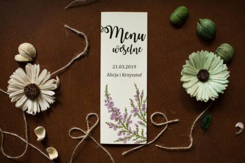 Menu weselne pasujące do zaproszenia Kwiaty - Wrzosy