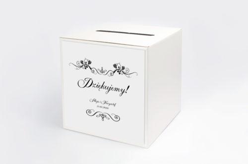 pudełko na koperty biało-czarne z napisem