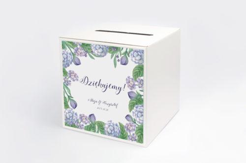 Personalizowane pudełko na koperty - do zaproszeń Kwadratowa Kartka: Hortensje