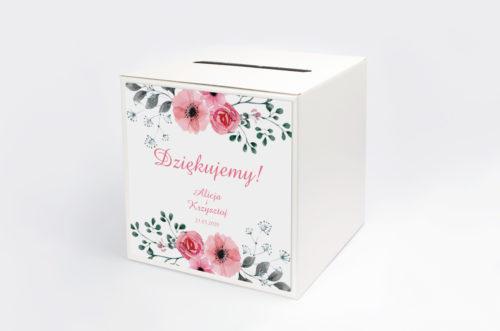 Personalizowane pudełko na koperty - Kwiaty z nawami: Kwiatuszki pink