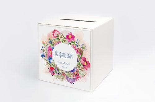 Personalizowane pudełko na koperty - Kwieciste wianki - Kolorowe bratki