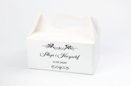 Ozdobne pudełko na ciasto - Black & White Para Młoda