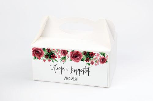 Ozdobne pudełko na ciasto - Boho Burgundowe Róże
