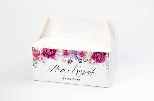 Ozdobne pudełko na ciasto - Wianki: Fuksjowe Peonie